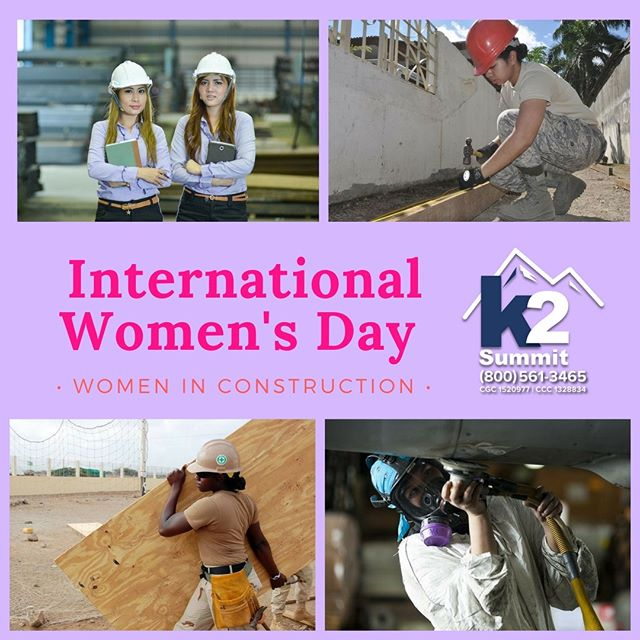 It's International Women's Day! Today, we'd like to give a special shoutout to all of the women in construction. Women have been working in construction since as early as the 13th century. However, there are still strong stereotypes against women in construction, and less than 10% of all construction workers are women. We think that should change. Don't you?  Check out this blog post about women in construction. https://www.huffingtonpost.com/kimberly-gallagher/women-in-construction_b_5833662.html  #k2summit #k2thesummit #roofing #roofinglife #construction #rooftop #roofer #contractor #remodeling #remodel #renovation #reroofing #constructionwork #roofconstruction #waterproofing #waterproofingsystems #generalcontracting #industrialroofing #commercialroofing #history #women #womenshistory #womenhistorymonth #influentialwomen #girlpower #internationalwomen'sday #womensday #womeninconstruction #constructionwomen #constructionwoman