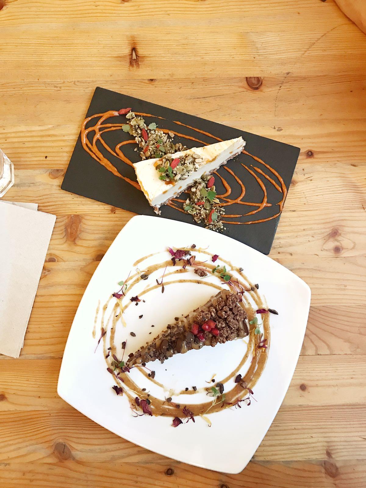 Raw Chocolate Tart & White Chocolate Cheesecake