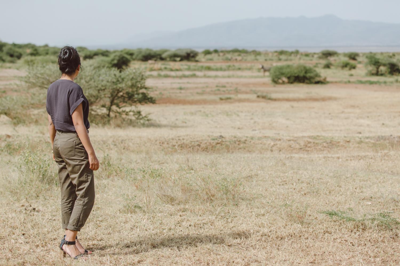 Looking over at the flamingos in Lake Manyara National Park