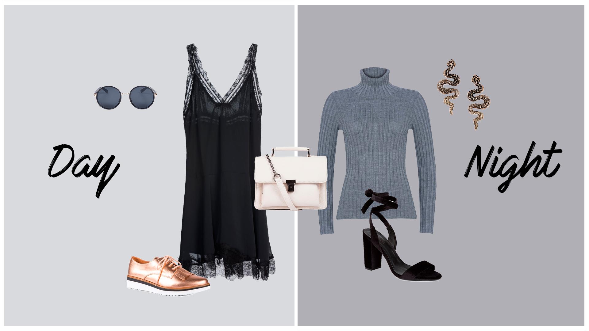 Look versátil para o dia e para a noite com roupas estilosas e seguindo as tendências atuais.