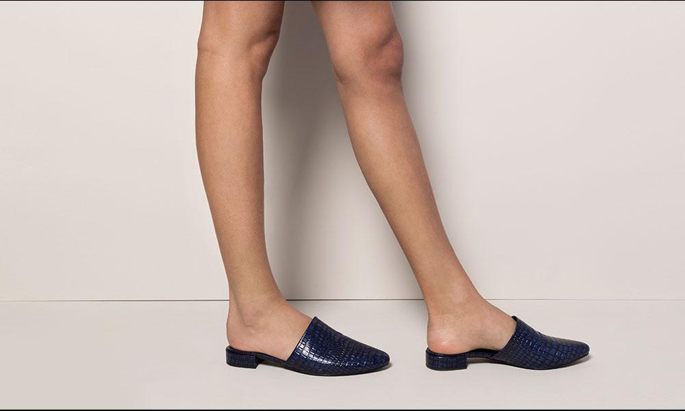 Sapato mule azul amaro