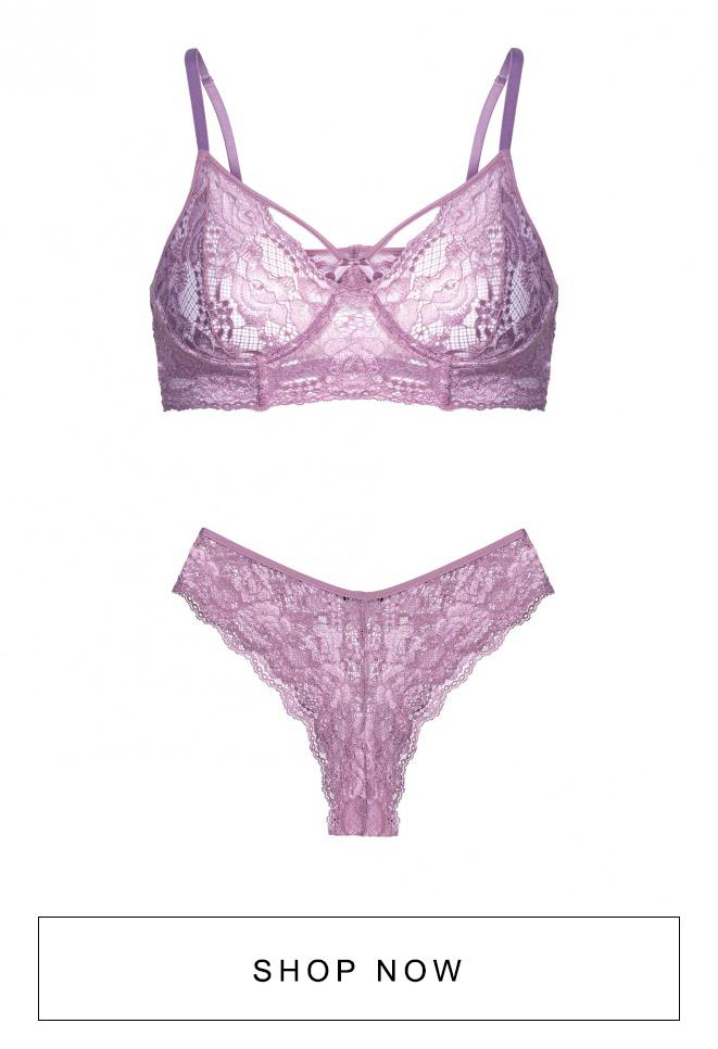 Conjunto de lingerie de renda uva AMARO