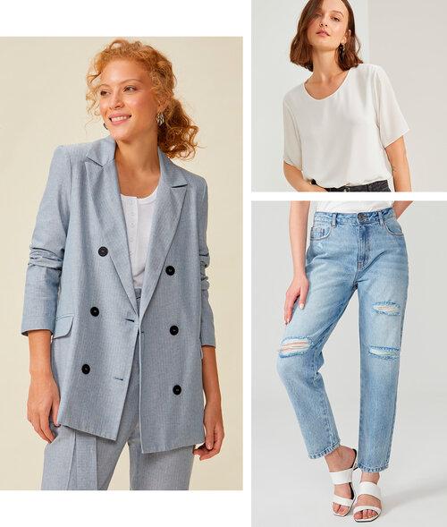 PRODUTOS : blazer oversized algodão ,  calça jeans reta com rasgos ,  camiseta chiffon essential