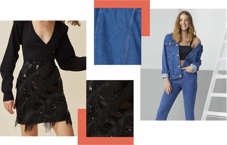 PRODUTOS:  saia mini paetê franjas vies ,  jaqueta jeans clássica