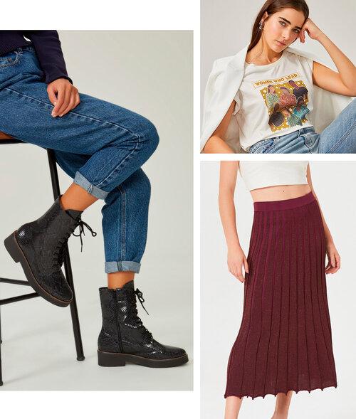PRODUTOS:  coturno flat animal print ,  saia midi tricot lurex ,  t-shirt malha manga curta estampa mulheres