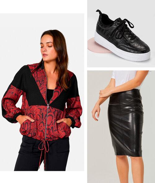 PRODUTOS:  jaqueta bomber crepe ,  saia lápis feminine ,  tênis croco detalhe furos