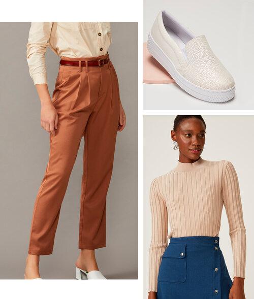 PRODUTOS:  calça slim pregas tecido alfaiataria ,  tênis slip on craquelado ,  blusa tricot gola curta
