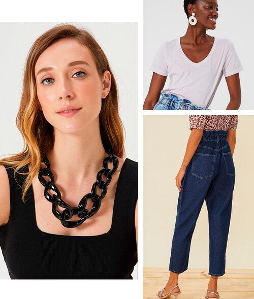 PRODUTOS:  colar curto corrente ,  t-shirt decote V estonada ,  calça jeans slouchy pregas cós