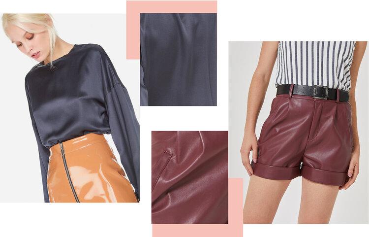 PRODUTOS:  blusa manga franzida cetim seda ,  shorts leather com cinto