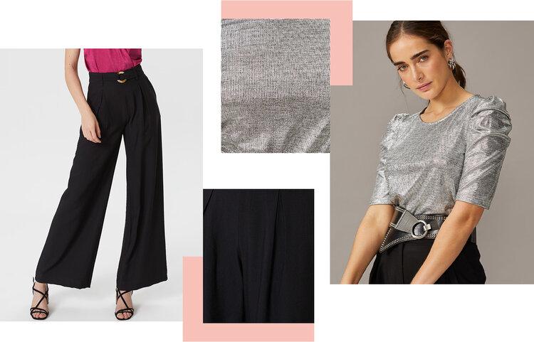 PRODUTOS:  blusa brilhos manga franzida ,  calça wide pregas com cinto