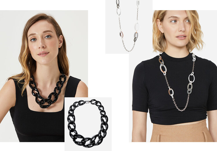 PRODUCTS: Short chain necklace, long link detail necklace.