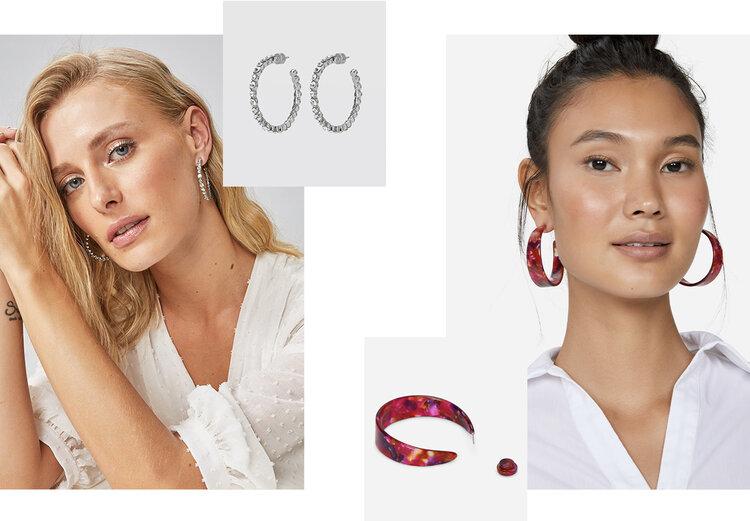 PRODUCTS: Wide resin hoop earring, crystals hoop.