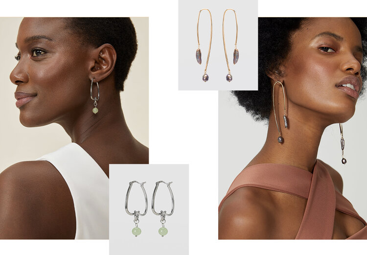 PRODUCTS: Earring with irregular pearls, earring in stone pendant.