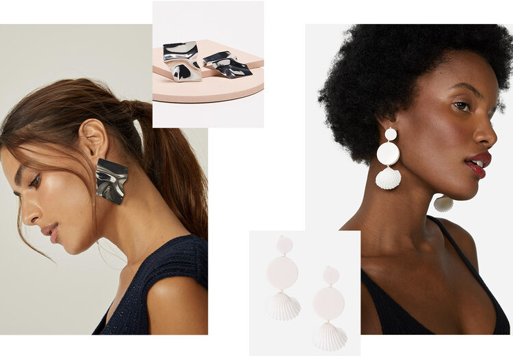 PRODUCTS: Resin shell earring, crumpled metal clad earring.