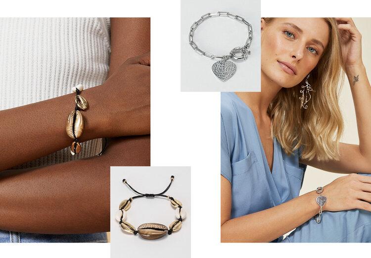 PRODUCTS: Clad heart bracelet, adjustable shell bracelet.