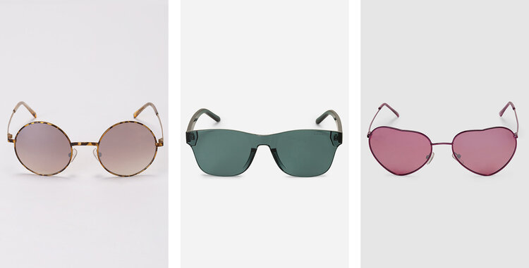 PRODUCTS: METAL ROUND SUNGLASSES; FRAME CLEAN SUNGLASSES; METAL HEART SUNGLASSES.