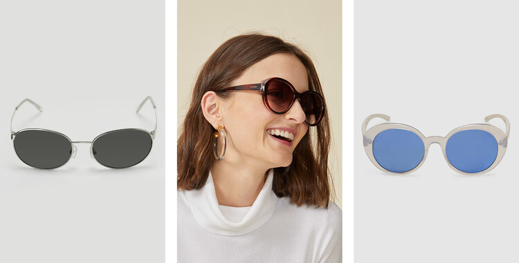 PRODUCTS: OVAL METAL SUNGLASSES; CLASSIC ROUND SUNGLASSES; HOLOGRAPHIC ACETATE SUNGLASSES.