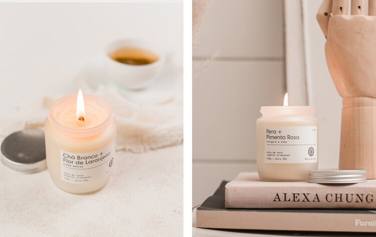 PRODUCTS: CANDLE PAVIO - MIXED CANDLE - WHITE TEA + ORANGE FLOWER; CANDLE PAVIO - MIXED CANDLE - PEAR + PINK PEPPER.