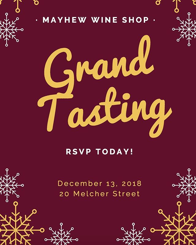 Mark your calendars - Thursday, December 13th is our GRAND TASTING! Try over 20 wines, holiday cocktails, and beers from @nightshiftbeer for FREE! You don't want to miss this holiday #extravaganza! To save your spot, be sure to #RSVP-  link in bio! Let's kick off the holidays right! . . . #GrandTasting #Mayhew #HolidayParty #BostonEvent #LinkInBio #PourOnPoint #FortPoint #Boston #HolidayCocktails #WineTasting #WineLovers #Wine #WineNight #MayhewWine #BostonFoodies #HolidayKickoff #WineWineWine #Cocktails #Beer #Alcohol