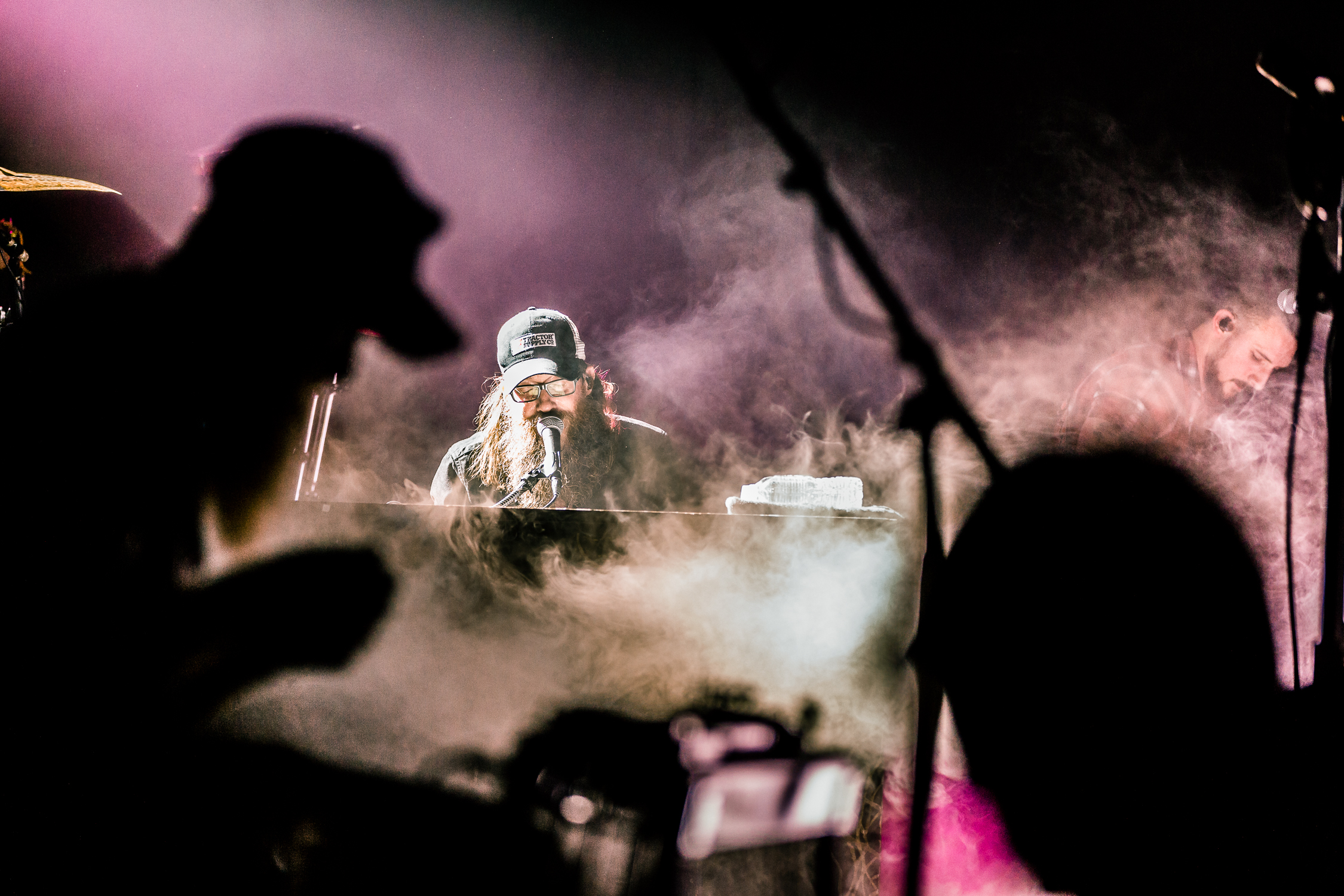 No pyrotechnics at Messiah College (yet...) but when the tech crew booted up the fog machine I knew I had to get this shot. I really like how by chance the fog was wrapped around Crowder but there was a nice opening to keep sharpness and detail on his face.