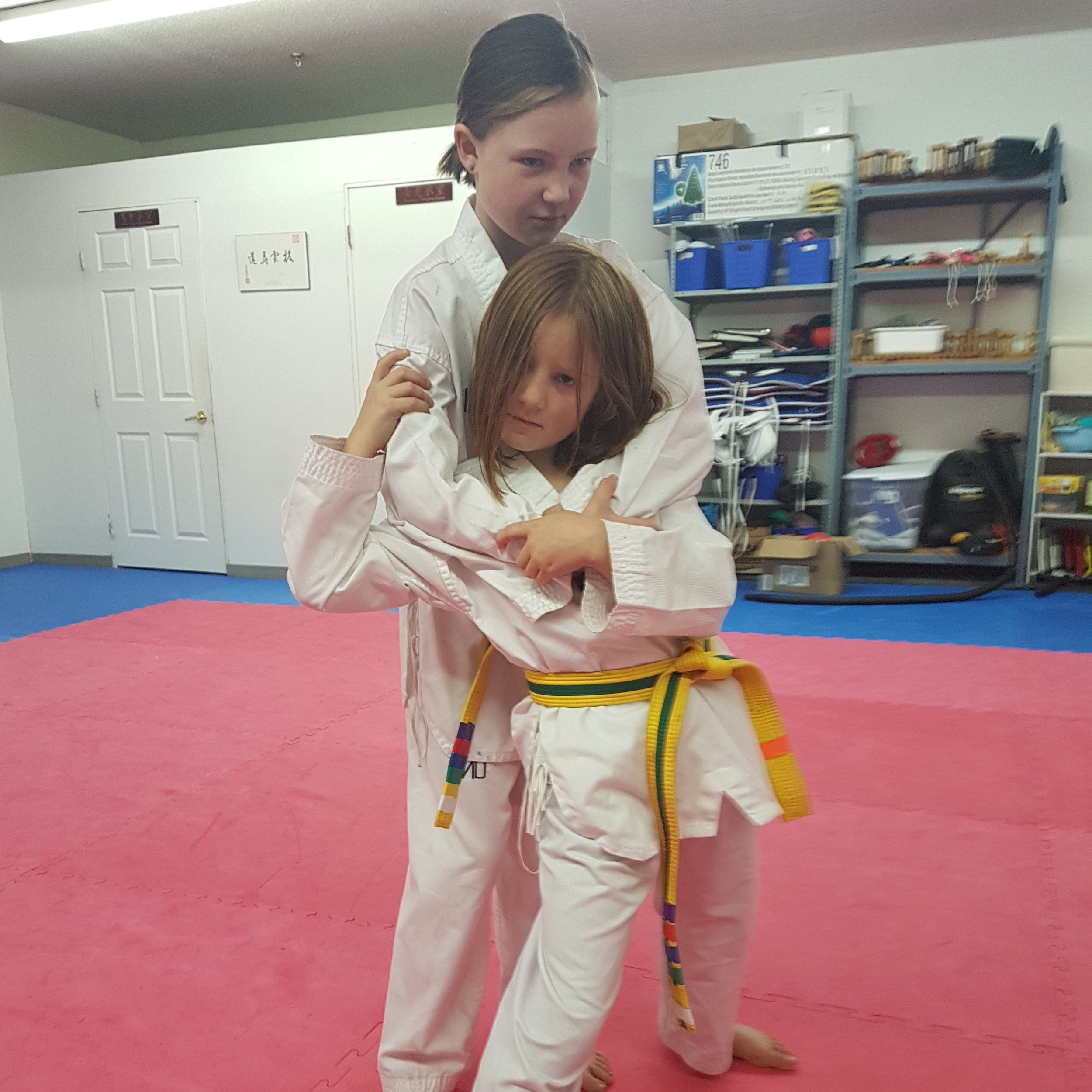 Ages 8-11 Beginner - Mon/Wed 5:45-6:30The emphasis for the 8 - 11 year old age group is on introducing martial arts as a fun activity and on fostering discipline. Our lessons focus on:Motor skills (ABCs: agility, balance, and coordination) and reaction timeListening skills and teamwork skillsAt the beginner level, we teach basic kicks and closed-hand blocks and strikes; simple reaction-based self defense; and the basics of attacking and counterattacking. Weapons training is also introduced.