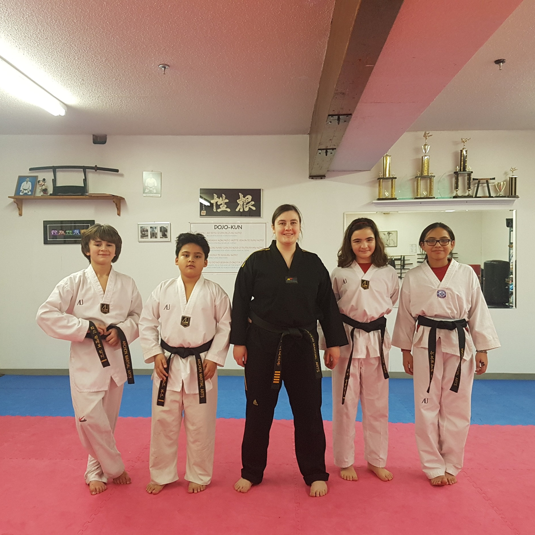 Black Belt Training - Sun 11:00-12:00After mastering the basics, our black belts get additional training to do stunts, aerial kicks, and tumbling. Students will continue to train with a number of weapons, with a focus on combining weapons techniques with kicking combinations.