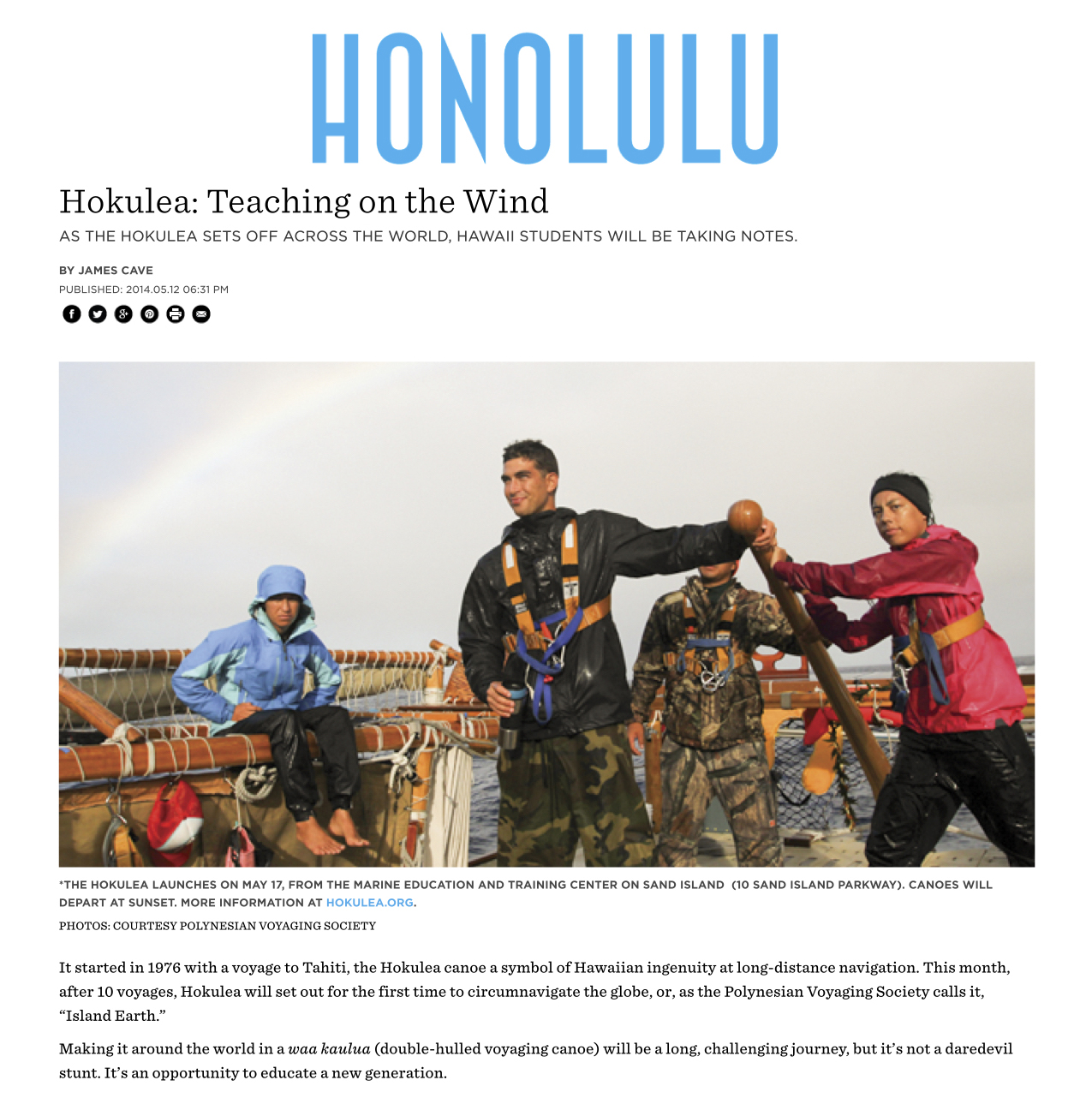 Hokulea- Teaching on the Wind - Honolulu Magazine - May 2014 - Hawaii copy.jpg