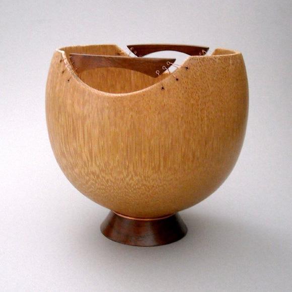 Polynesian vase - Queen palm, koa and copper