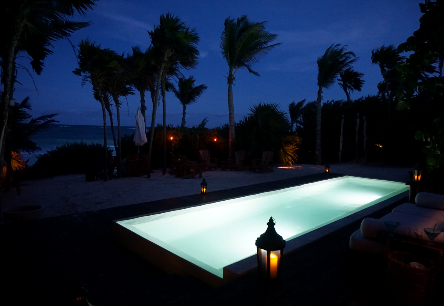 Just after sunset at the Casa Catarena in Tulum, Mexico