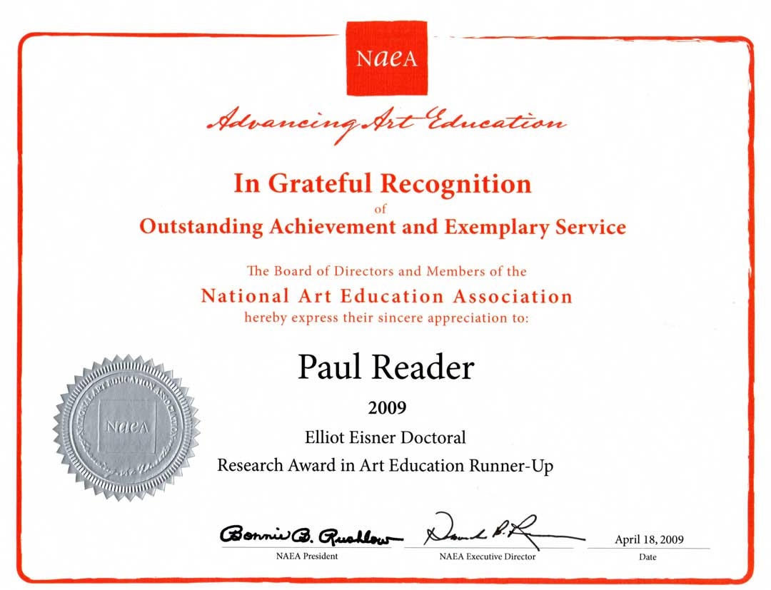 National Art Education Association (USA) recognition 2009