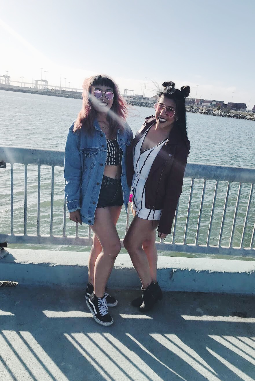 At Middle Harbor Shoreline Park in Oakland for Blurry Vision before we froze our asses off later that evening.