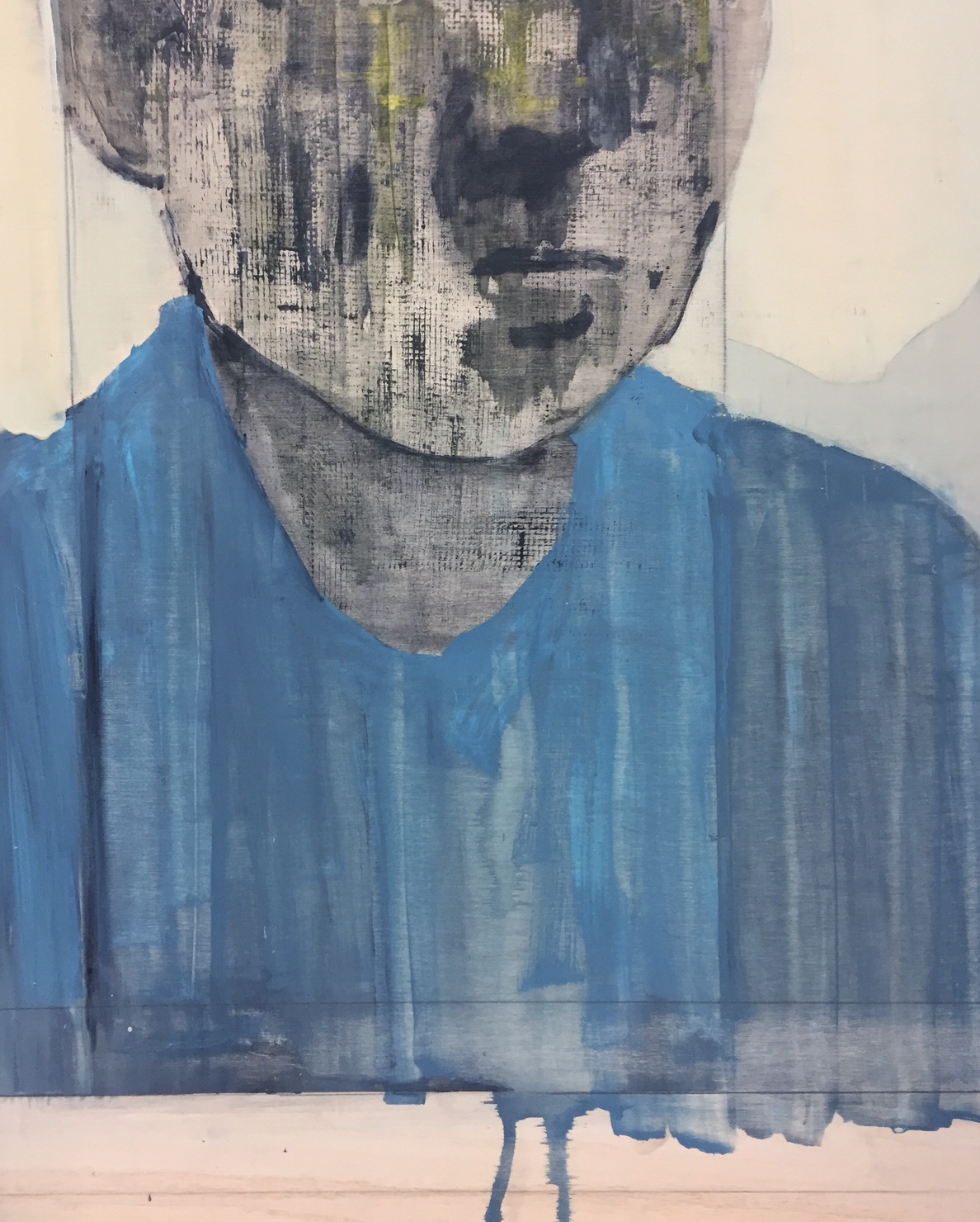 """Portrait study of a poet c. 1964,    2016. Acrylic, acrylic polymer and graphite on wood panel. 25-7/8""""x21"""""""