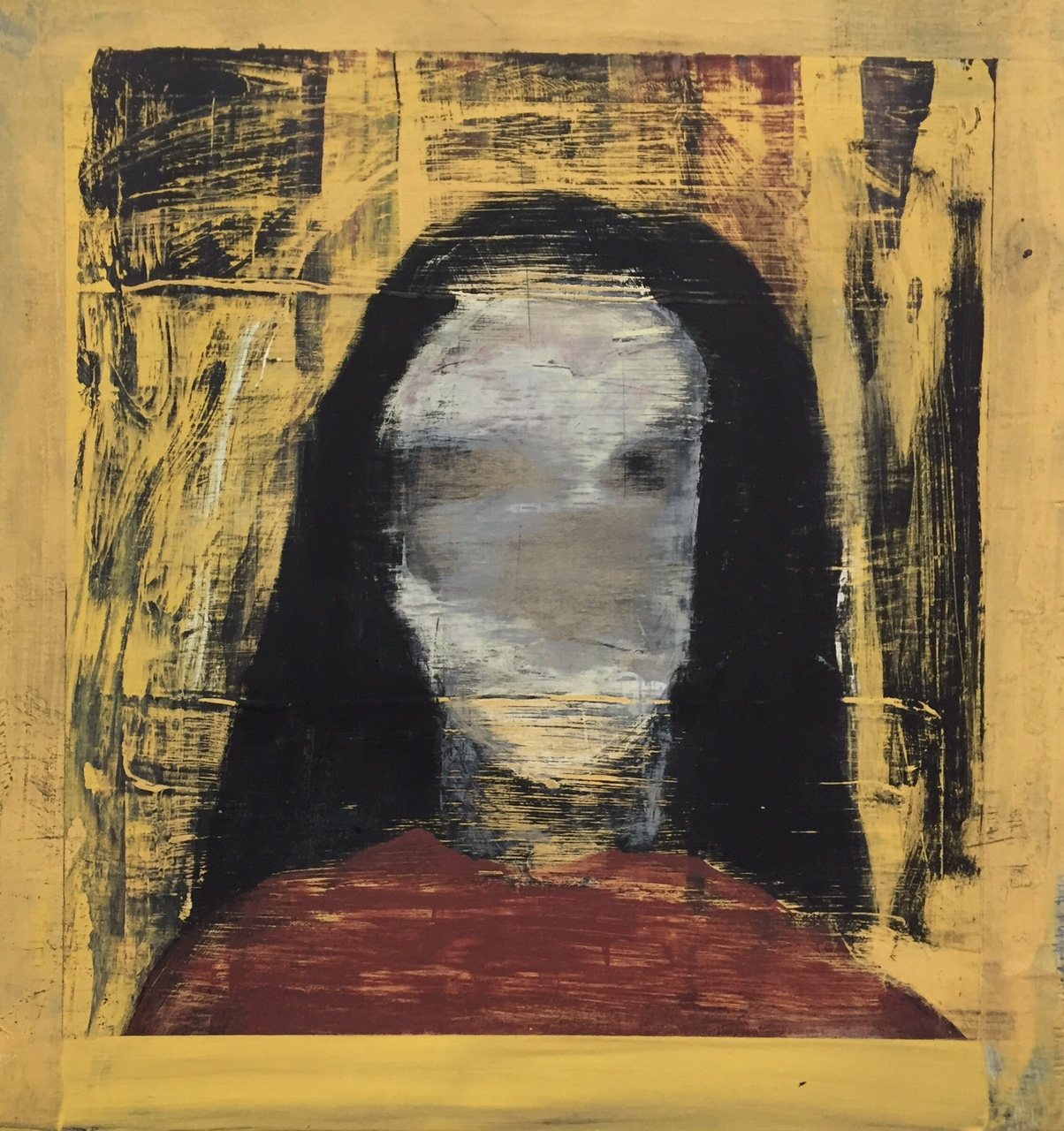 """Portrait study (woman with a mask).  2014.Acrylic and graphite on wood panel. 12""""x12"""""""