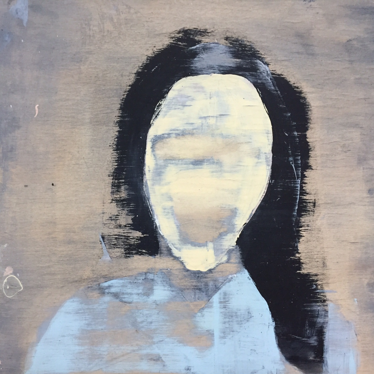 """Portrait study (woman wearing a mask and blue sweater),  2014. Acrylic and graphite on wood panel. 12""""x12"""""""