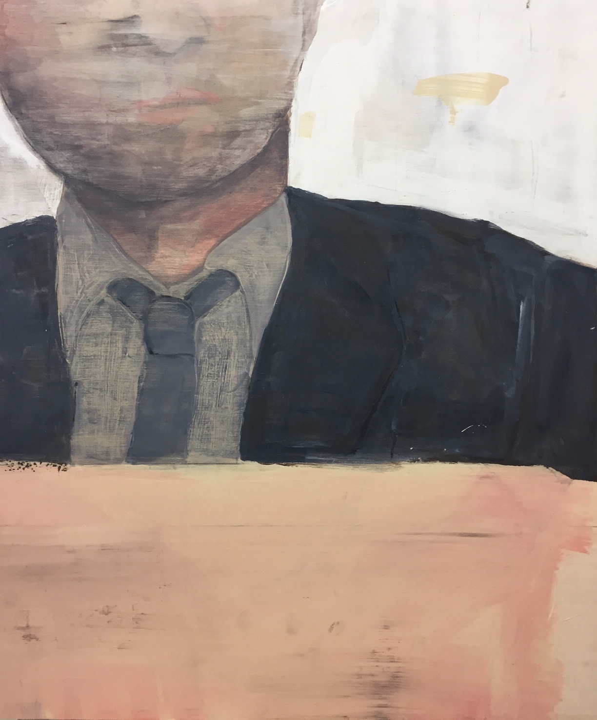 """Man wearing a tie, c. 1978,  2016. Acrylic, acrylic polymer and graphite on wood panel. 29-1/2""""x24-1/2"""""""