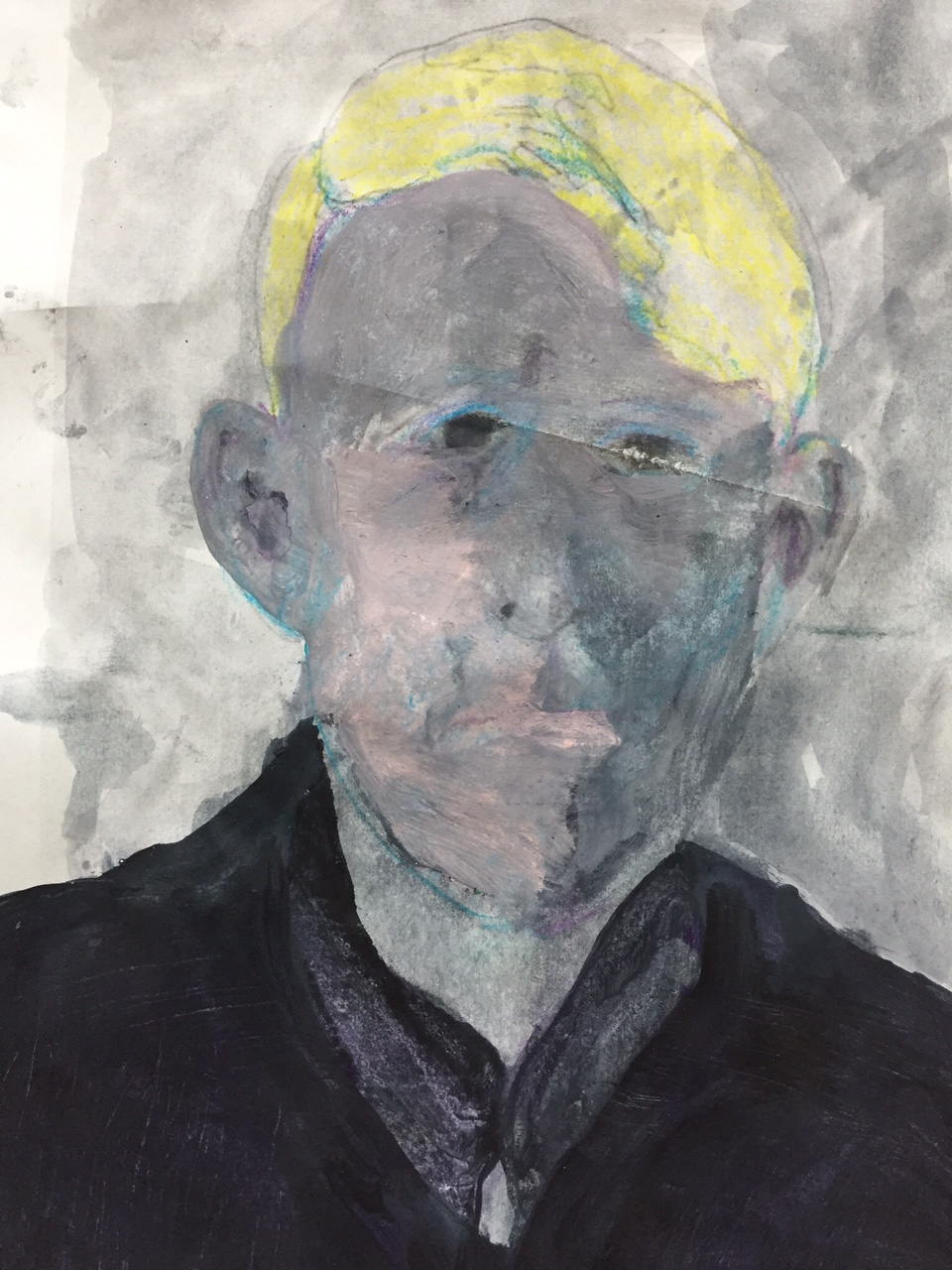 """First part, portrait (study) of a young man, c. 1920.  2014. Acrylic and graphite on a paper. 12""""x8"""""""