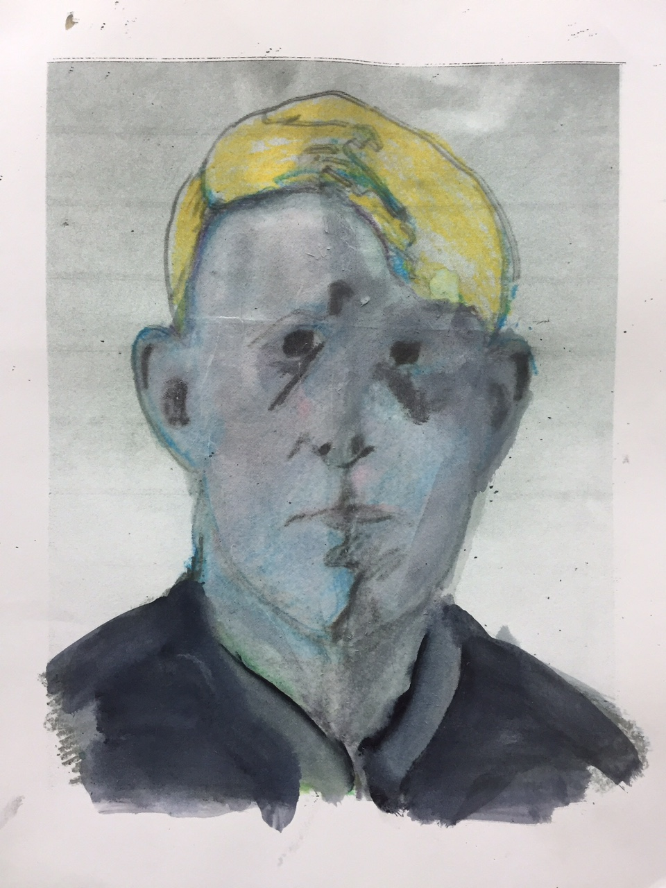 """Second part, portrait (study) of a young man, c. 1920. 2014. Acrylic, watercolor marker and graphite on paper. 12""""x8"""""""