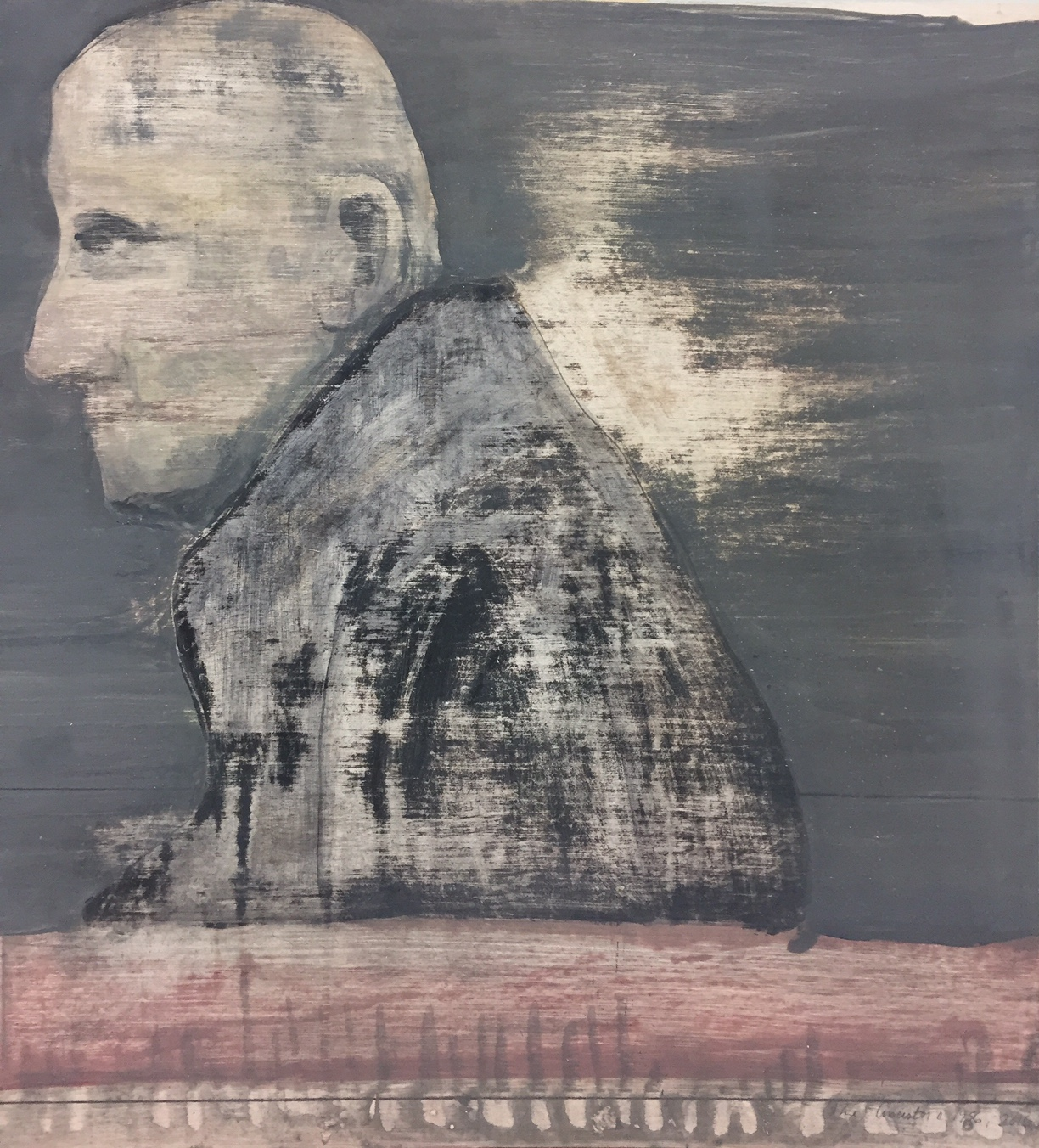 """Ancestor in winter, c. 1966,    2016. Acrylic, acrylic polymer and graphite on wood panel. 23""""x21"""""""