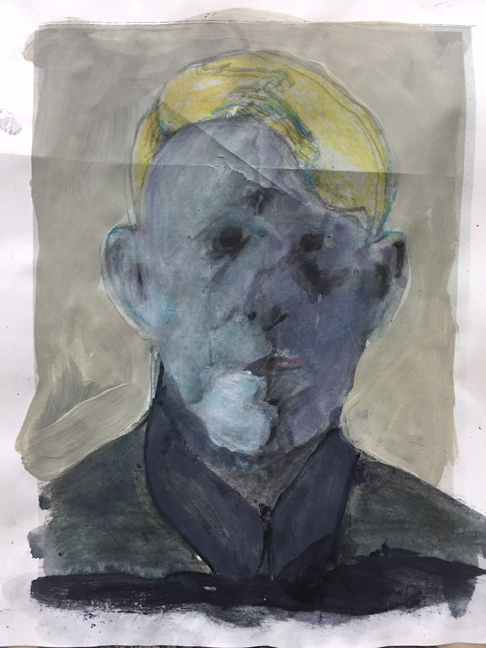 """Third part, portrait (study) of a young man c. 1920.  2014. Acrylic on paper. 12""""x8"""""""