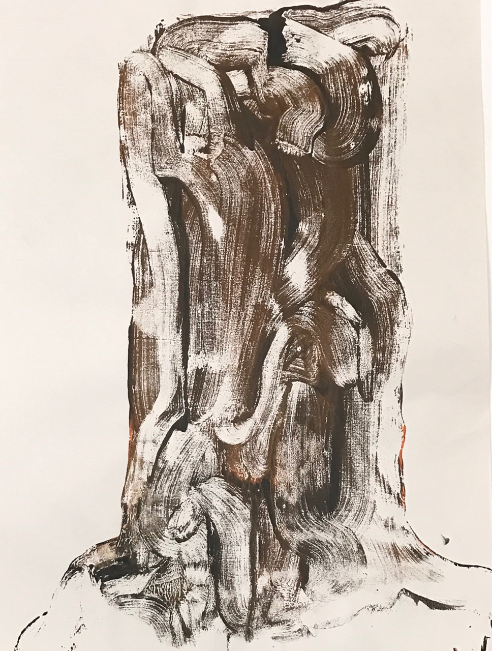 "Stump,  2016. Acrylic on a paper. 23-1/4""x18"""