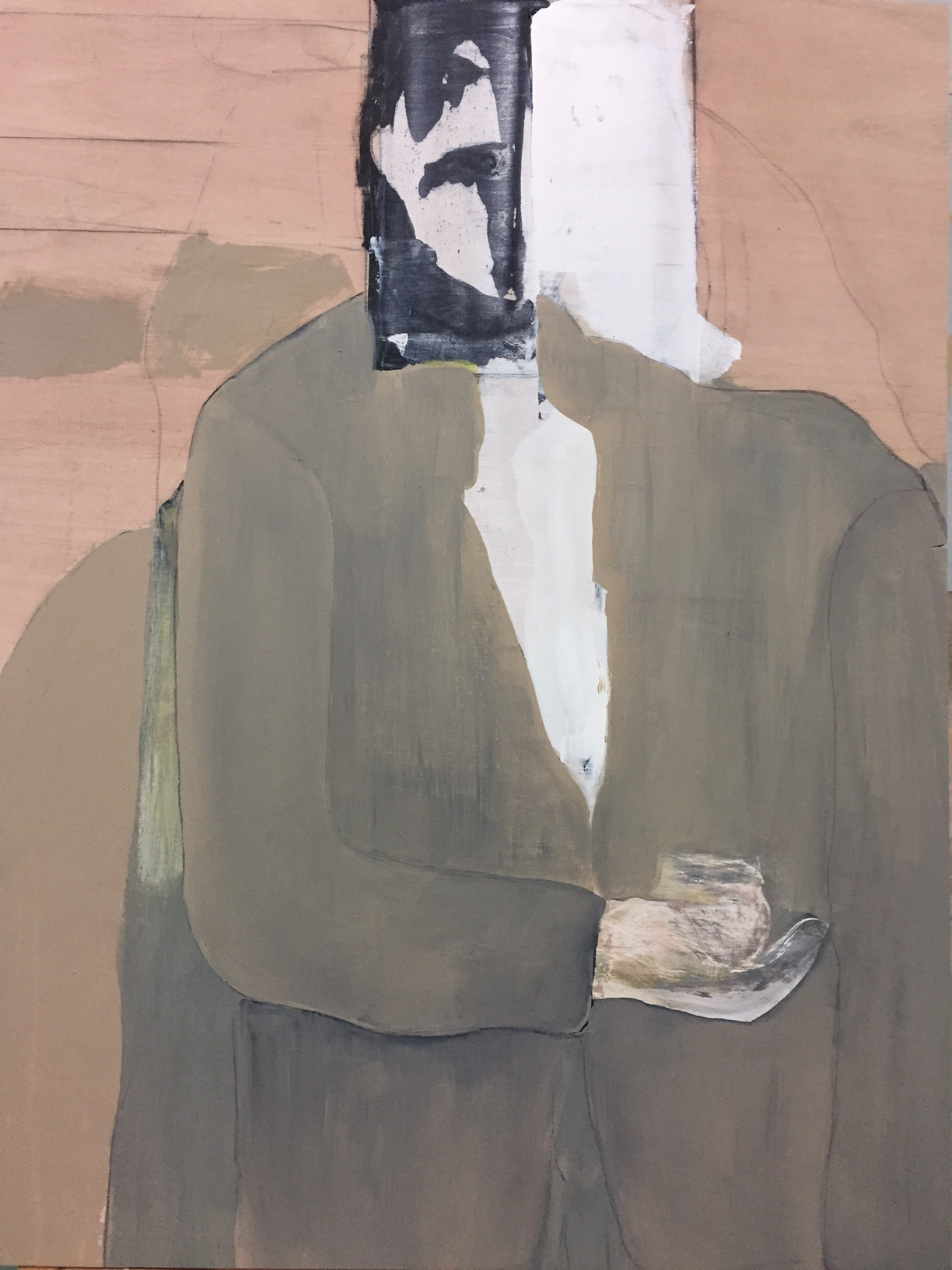 """Portrait study with mask and landscape,  2016. Acrylic, acrylic polymer and graphite on wood panel. 30-3/4""""x23-1/2"""""""
