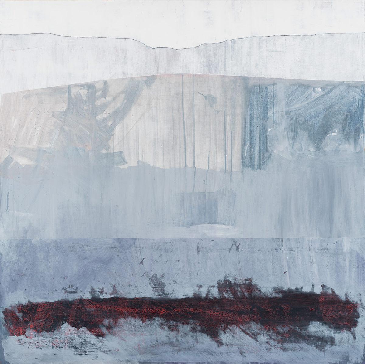 "Landscape (strafed),  2015. Acrylic and acrylic polymer on wood panel. 48""x48"""