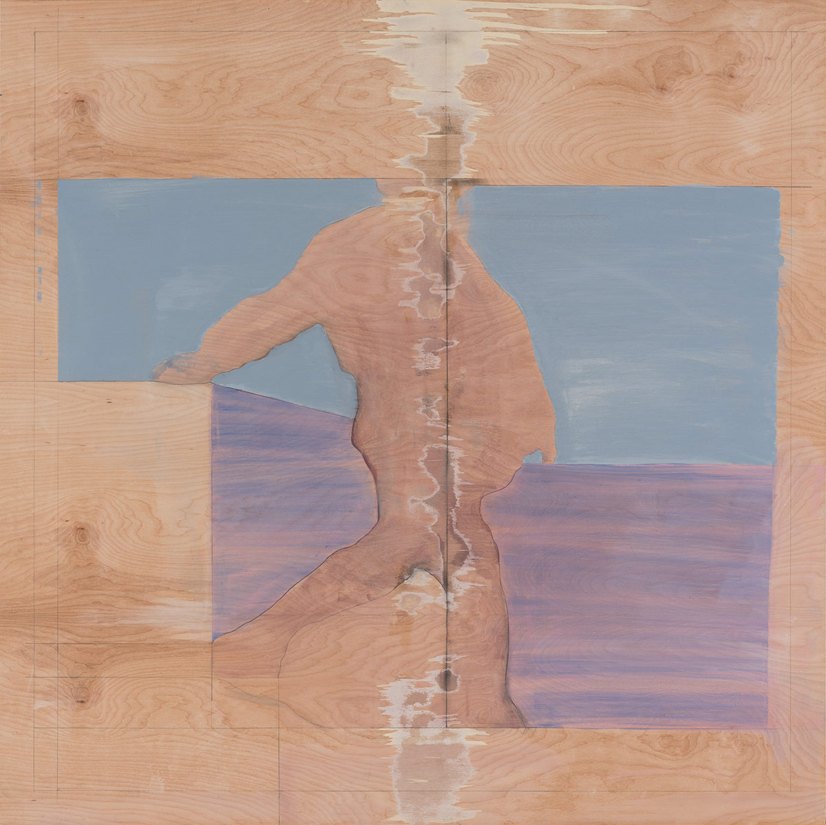 """Landscape with figure (from the pages of an old book),  2015. Acrylic, acrylic polymer and graphite on wood panel. 48""""x48"""""""