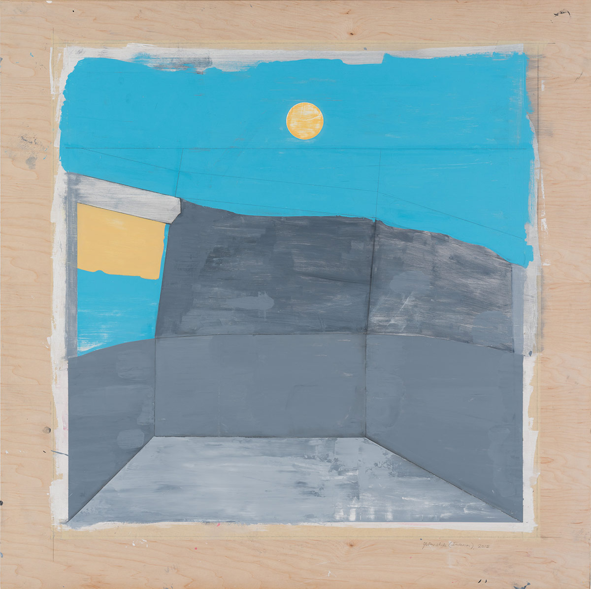 """Interior with window shade,  2014. Acrylic, acrylic polymer and graphite on wood panel. 48""""x48"""""""
