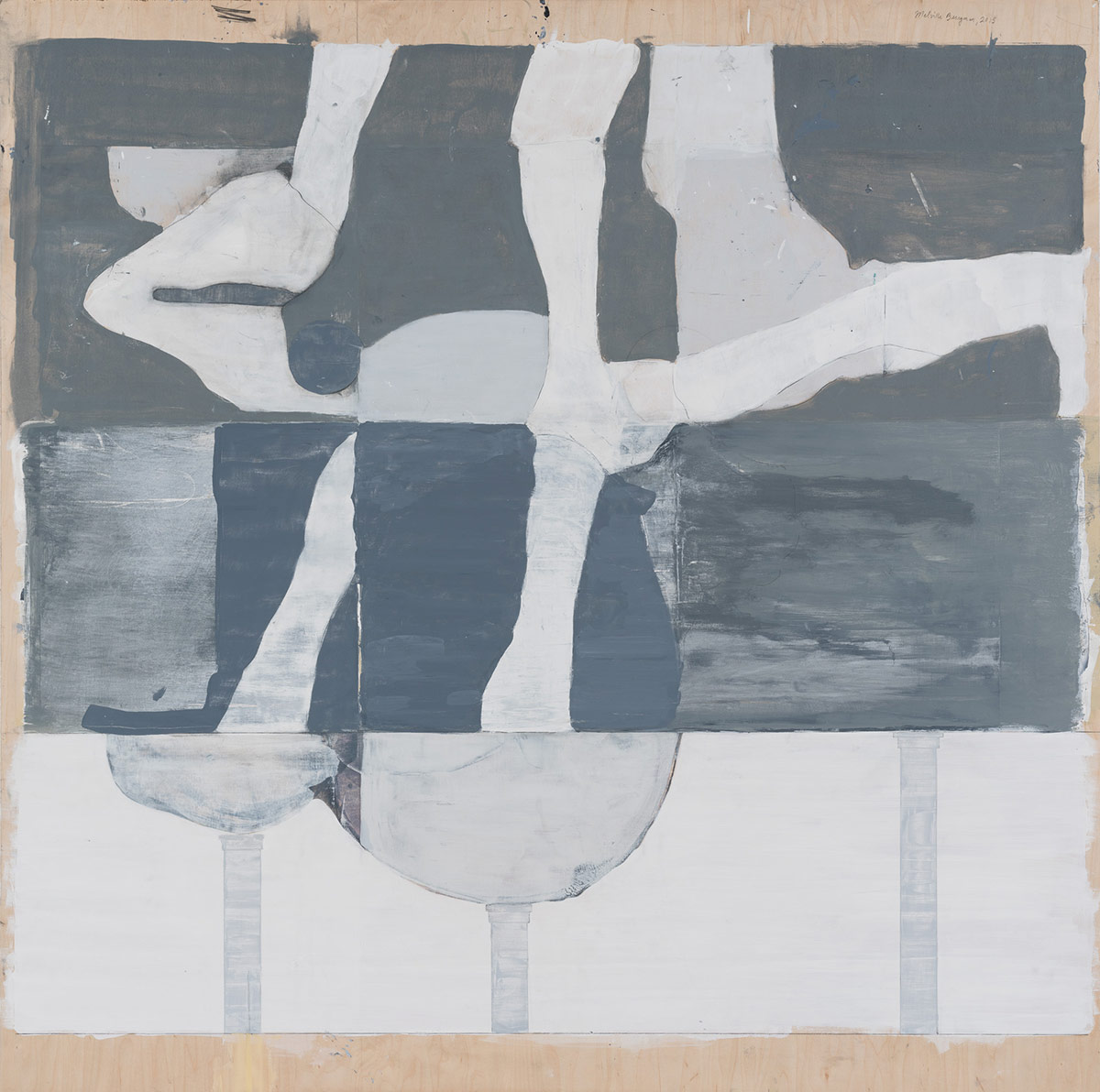 """Melville/Berryman,  2014. Acrylic, acrylic polymer and graphite on wood panel. 49""""x48"""""""