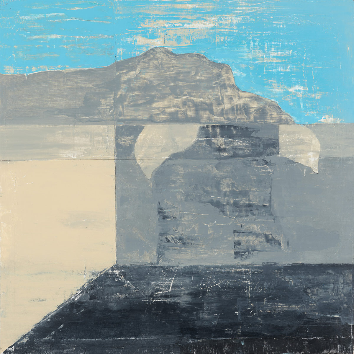 """Landscape and interior,  2014. Acrylic, acrylic polymer and graphite on wood panel. 24""""x24"""""""