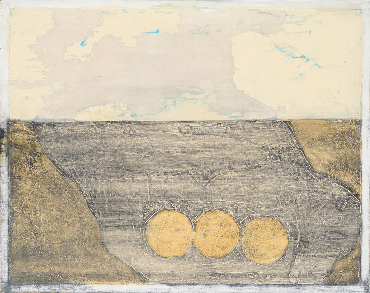 """Landscape with still life,  2014. Acrylic, acrylic polymer and graphite on wood panel. 24""""x24"""""""