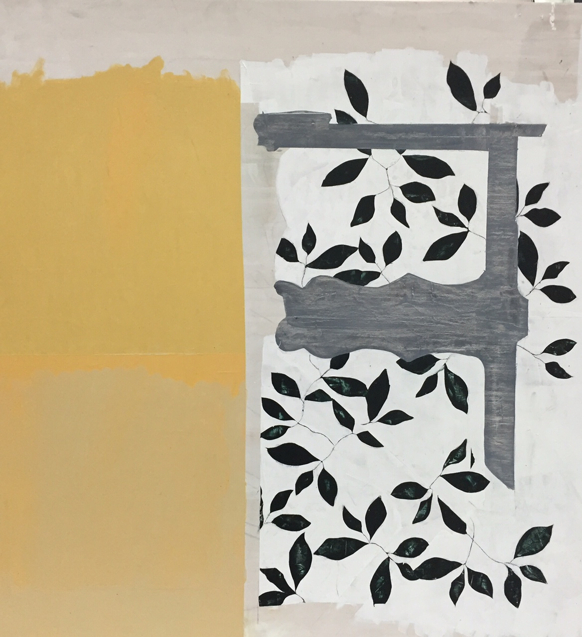 """Landscape and porch,  2015. Acrylic, acrylic polymer and graphite on wood panel. 48""""x48"""""""