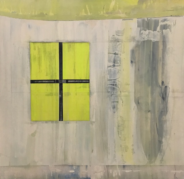 """Window during a flood,  2017. Acrylic, acrylic polymer and graphite on wood panel. 48""""x48"""""""