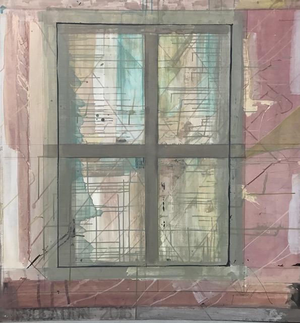 "Window (Convocation),  2016. Acrylic, acrylic polymer and graphite on wood panel. 48""x48"""